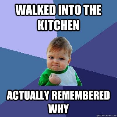 walked into the kitchen actually remembered why - Success Kid