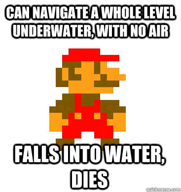 can navigate a whole level underwater with no air falls int -