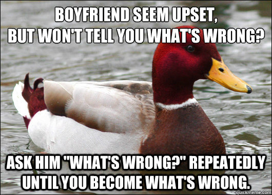 boyfriend seem upset but wont tell you whats wrong ask  - Malicious Advice Mallard