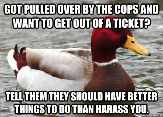 got pulled over by the cops and want to get out of a ticket - Malicious Advice Mallard