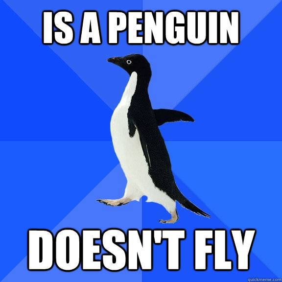 is a penguin doesnt fly - Socially Awkward Penguin