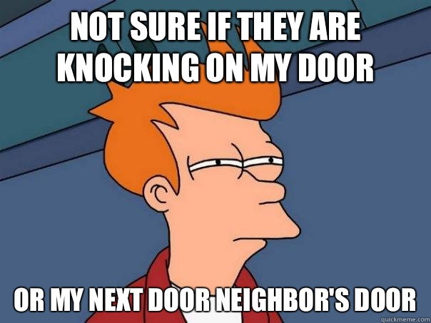 Not sure if they are knocking on my door Or my next door nei - Futurama Fry