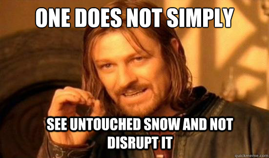 one does not simply see untouched snow and not disrupt it  - Boromir