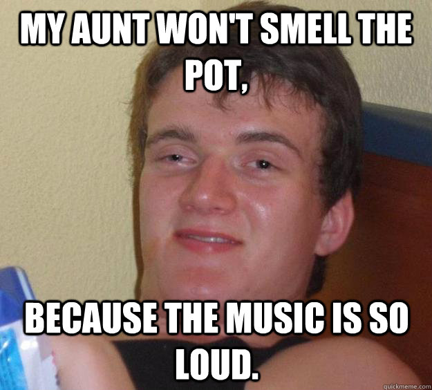my aunt wont smell the pot because the music is so loud - 10 Guy