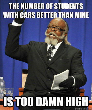 the number of students with cars better than mine is too dam - The Rent Is Too Damn High