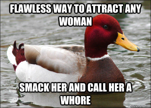 flawless way to attract any woman smack her and call her a w - Malicious Advice Mallard
