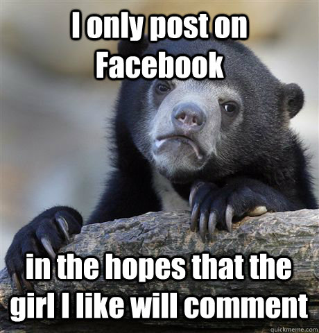 i only post on facebook in the hopes that the girl i like wi - Confession Bear
