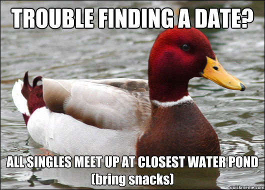 trouble finding a date all singles meet up at closest water - Malicious Advice Mallard