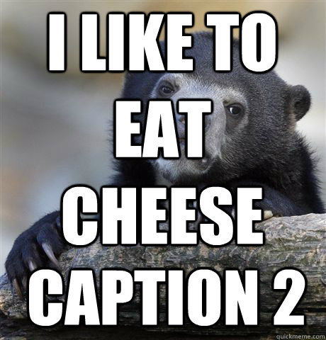 i like to eat cheese caption 2 - Confession Bear