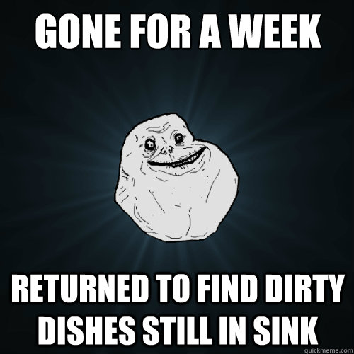 gone for a week returned to find dirty dishes still in sink - Forever Alone