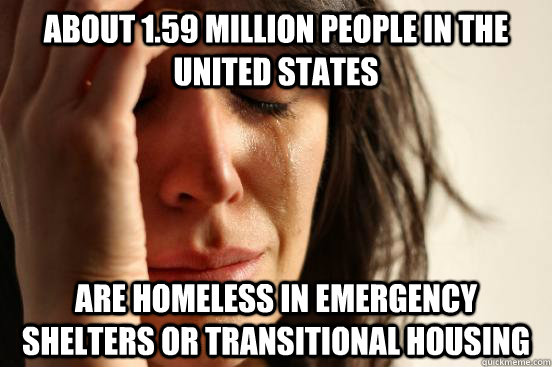 about 159 million people in the united states are homeless  - First World Problems