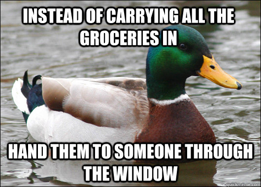 instead of carrying all the groceries in hand them to someon - Actual Advice Mallard