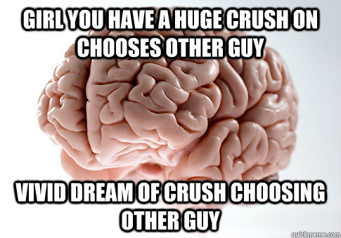 girl you have a huge crush on chooses other guy vivid dream  - Scumbag Brain