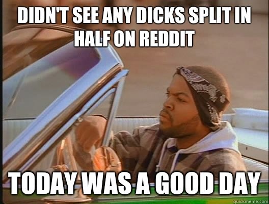 Didnt see any dicks split in half on reddit Today was a good - today was a good day