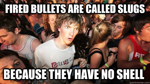 fired bullets are called slugs because they have no shell  - Sudden Clarity Clarence