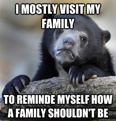 i mostly visit my family to reminde myself how a family shou - Confession Bear