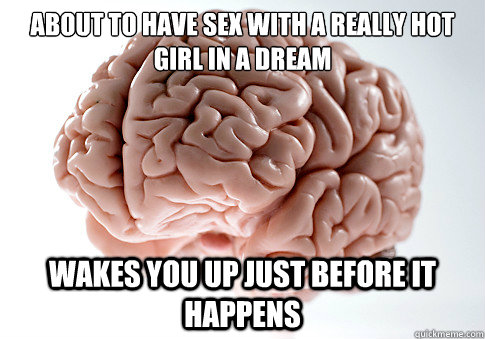 about to have sex with a really hot girl in a dream wakes yo - Scumbag Brain