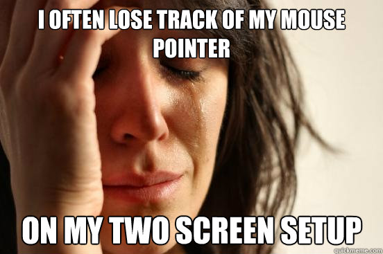 i often lose track of my mouse pointer on my two screen setu - First World Problems