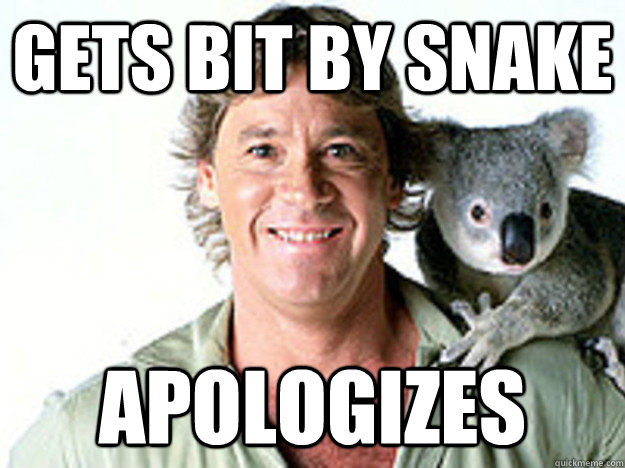 gets bit by snake apologizes - Good Guy Steve Irwin