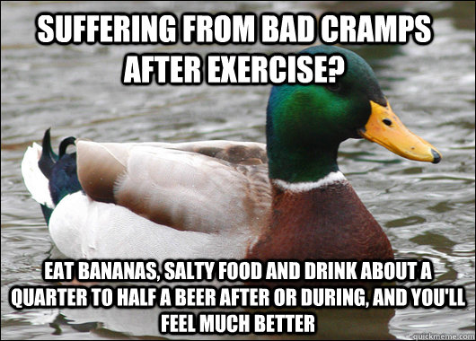suffering from bad cramps after exercise eat bananas salty - Actual Advice Mallard