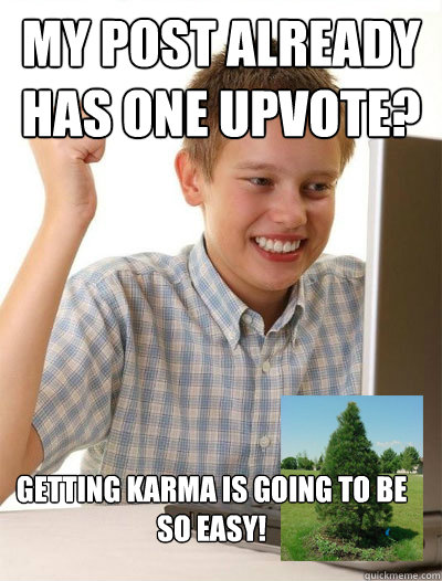 my post already has one upvote getting karma is going to be - 1st day internet kid