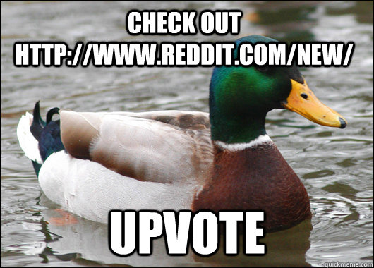 check out httpwwwredditcomnew upvote - Actual Advice Mallard