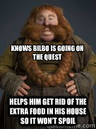 knows bilbo is going on the quest helps him get rid of the e -