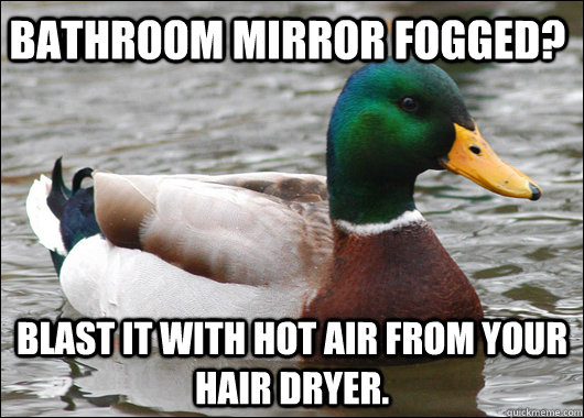 bathroom mirror fogged blast it with hot air from your hair - Actual Advice Mallard