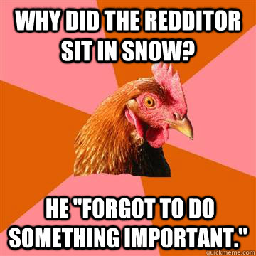 why did the redditor sit in snow he forgot to do somethin - Anti-Joke Chicken
