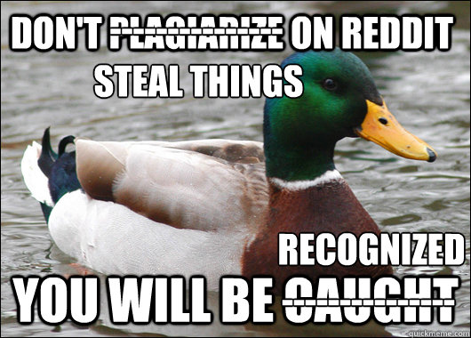dont plagiarize on reddit you will be caught  - Actual Advice Mallard