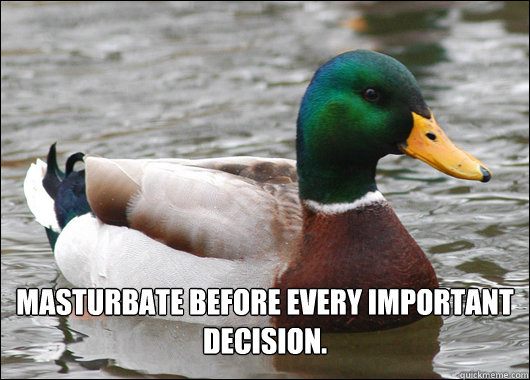 masturbate before every important decision - Actual Advice Mallard