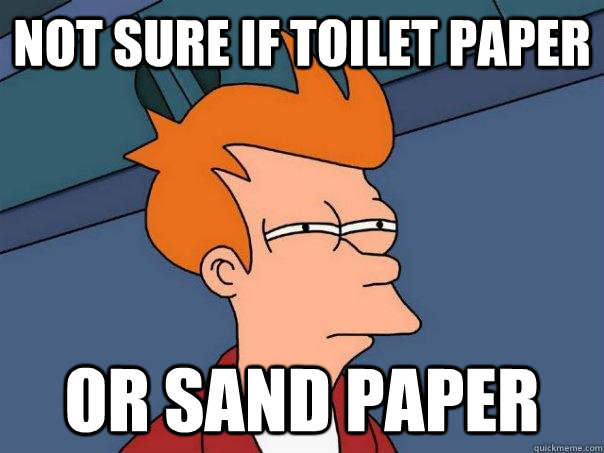 not sure if toilet paper or sand paper - Futurama Fry