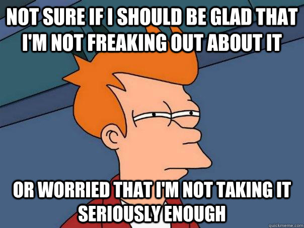 not sure if i should be glad that im not freaking out about - Futurama Fry