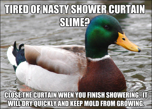 tired of nasty shower curtain slime close the curtain when  - Actual Advice Mallard