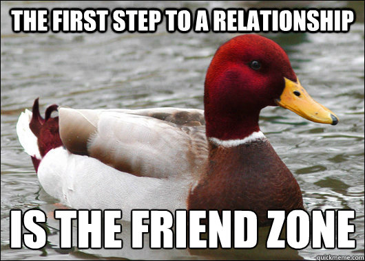 the first step to a relationship is the friend zone - Malicious Advice Mallard