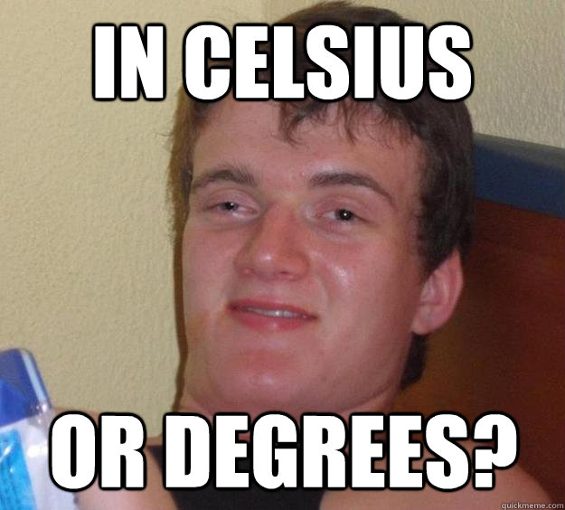 in celsius or degrees - 10 Guy