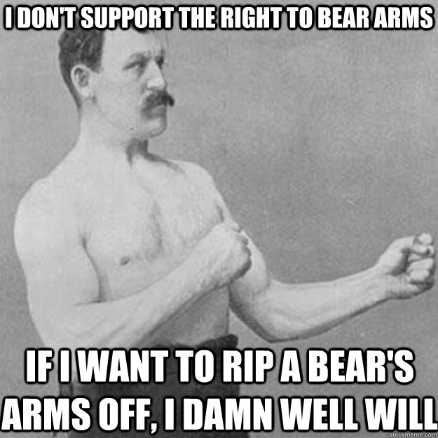 i dont support the right to bear arms if i want to rip a be - overly manly man