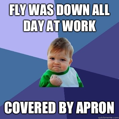 Fly was down all day at work Covered by apron - Success Kid