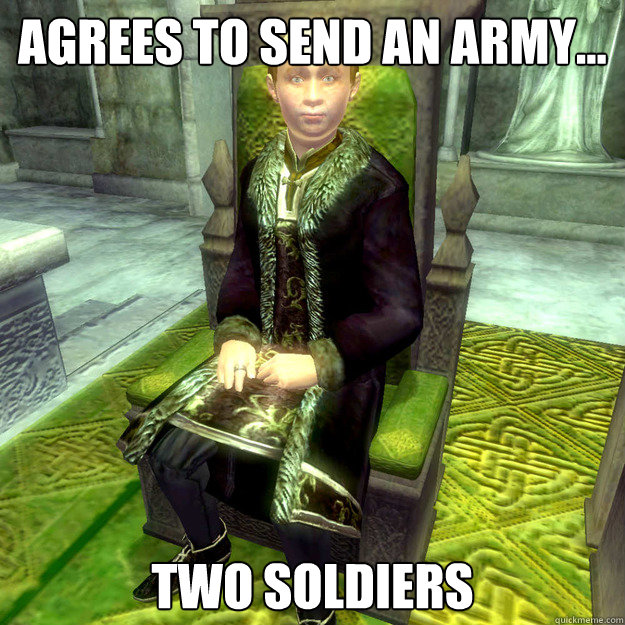 agrees to send an army two soldiers - Scumbag count