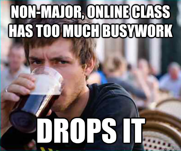 nonmajor online class has too much busywork drops it - Lazy College Senior