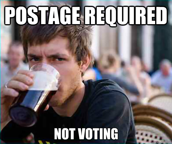 postage required not voting - Lazy College Senior