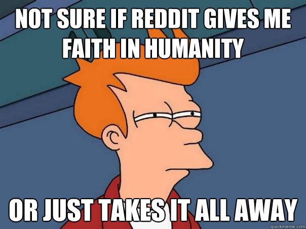 not sure if reddit gives me faith in humanity or just takes - Futurama Fry