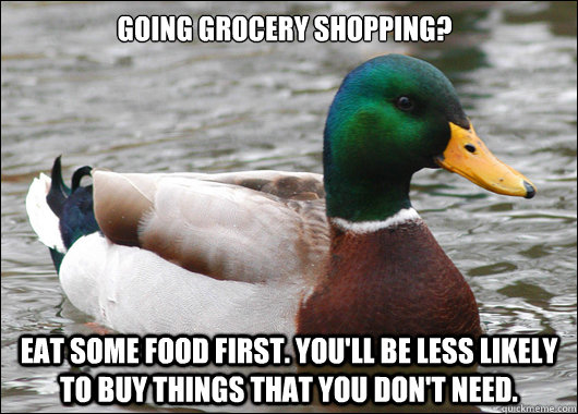 going grocery shopping eat some food first youll be less  - Actual Advice Mallard