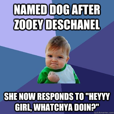 named dog after zooey deschanel she now responds to heyyy g - Success Kid