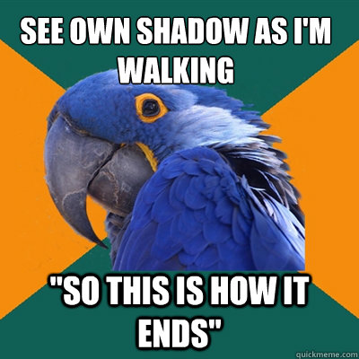 see own shadow as im walking so this is how it ends - Paranoid Parrot