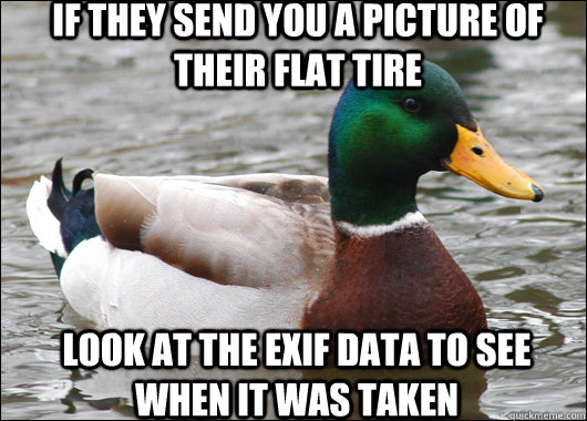 if they send you a picture of their flat tire look at the ex - Actual Advice Mallard