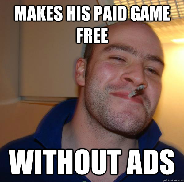 makes his paid game free without ads - Good Guy Greg
