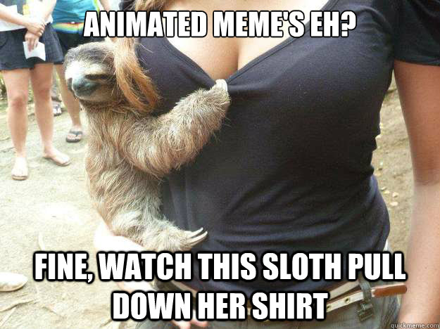 animated memes eh fine watch this sloth pull down her shi -