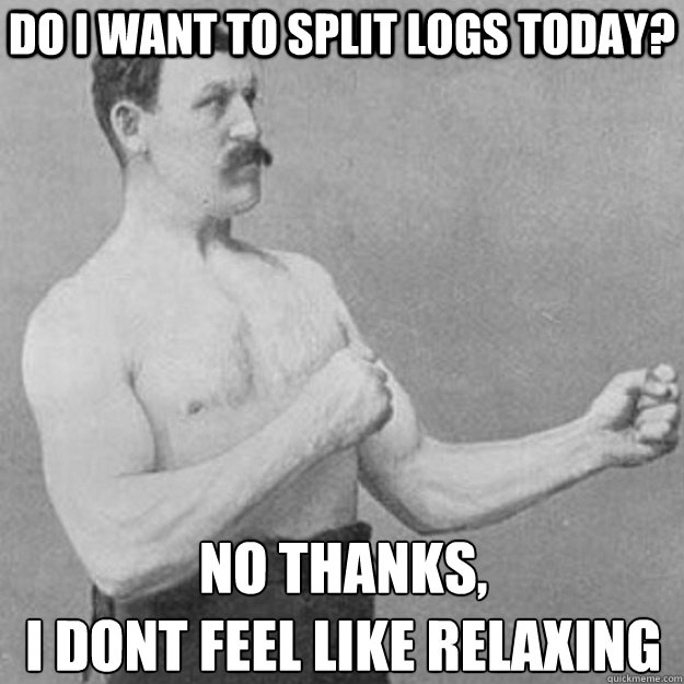 do i want to split logs today no thanks i dont feel like  - overly manly man