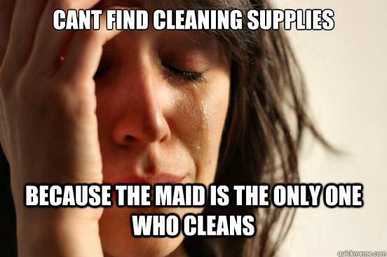 cant find cleaning supplies because the maid is the only one - First World Problems